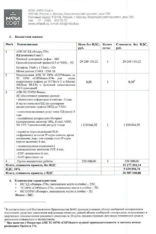 Появились цены на реализацию «пакета Яровой» у операторов связи