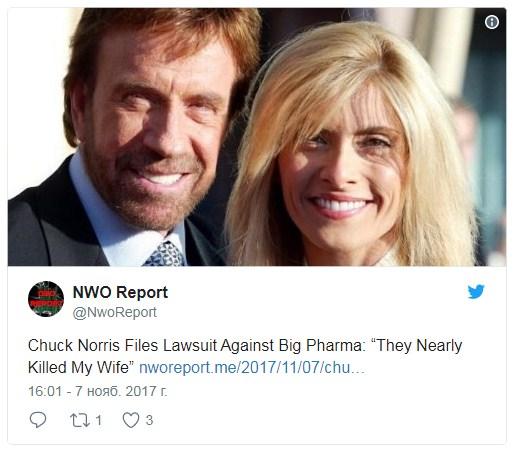 Американский актёр Чак Норрис бросил кино ради умирающей жены