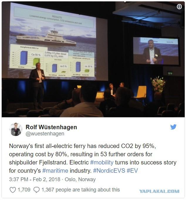 Норвежский электрический паром на 80% дешевле в эксплуатации