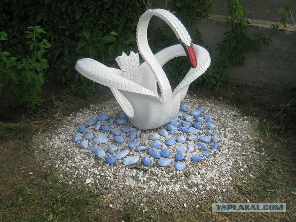 Лебеди из шин как сделать