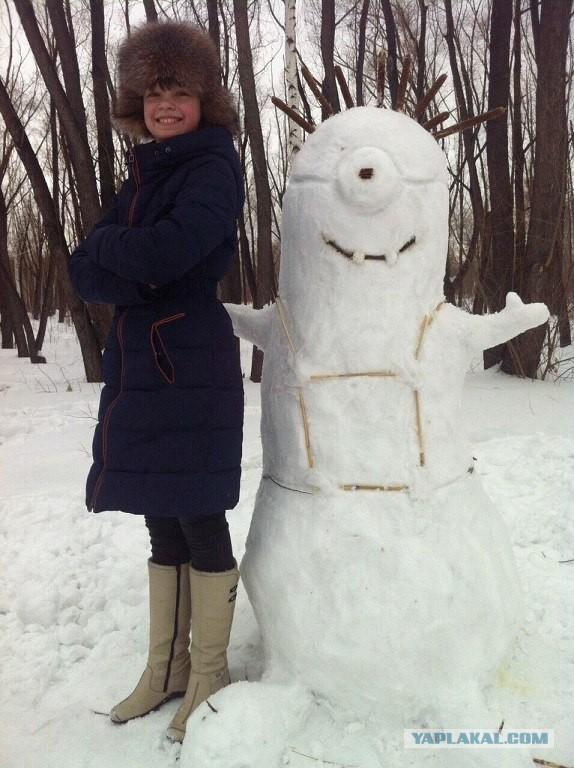 В Омске +1 и снег...Появилось много снеговиков