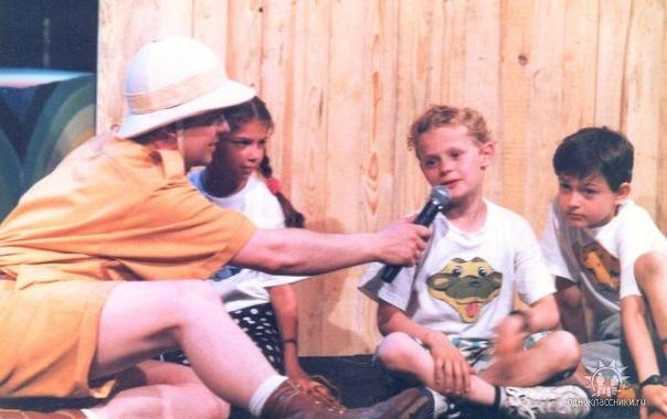 Сергей Супонев на передаче Зов джунглей со своим сыном Кириллом 1993 год