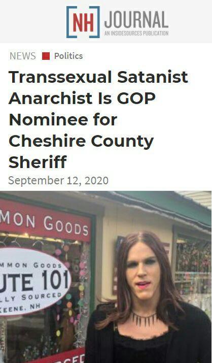 В шерифы округа Чешир, штат Нью-Гемпшир, баллотируется транссексуал, сатанист и анархист. И все это один человек