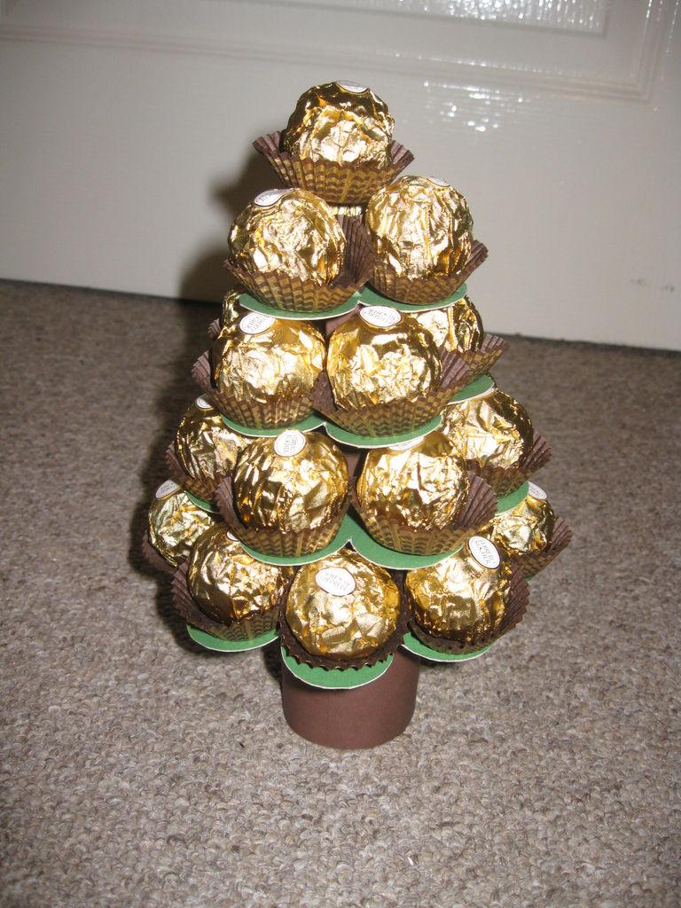 Новогодние елки своими руками из конфет фото