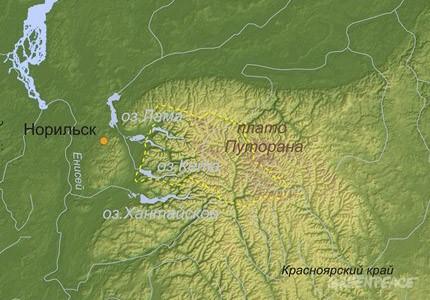 Где находится на карте плато путорана