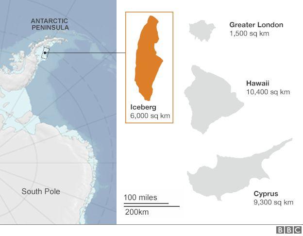 От Антарктиды откололся гигантский айсберг массой около триллиона тонн
