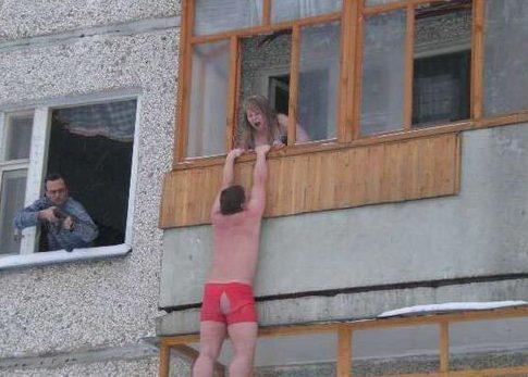 вдул жене на балконе