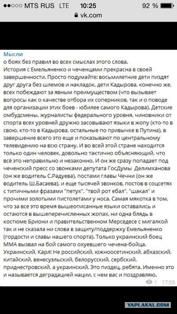 Минспорта: участие детей в турнире в Грозном нарушает правила ММА
