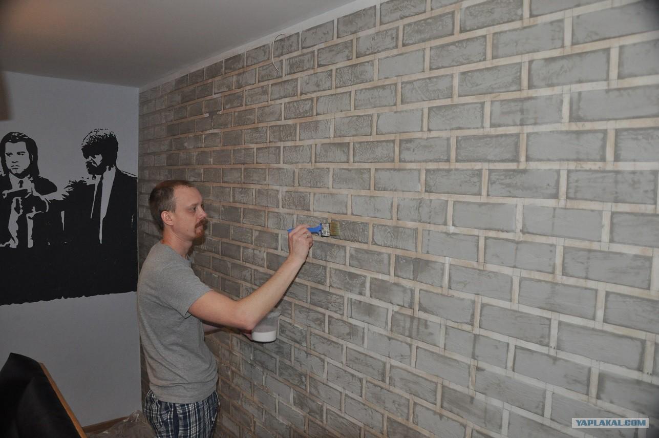 Имитация кирпичный стены своими руками - Pikabu 61