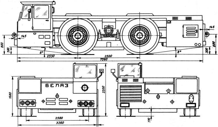 БелАЗ-6411 Аэродромный тягач чертежи (рисунки) грузовика.