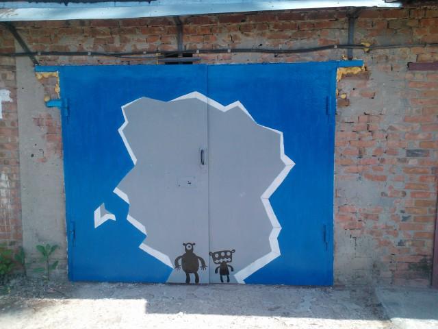 Рисунки на гаражных воротах своими руками фото