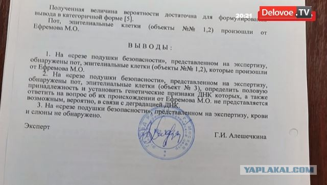 Экспертиза показала, что на водительской подушке безопасности автомобиля Михаила Ефремова обнаружены следы ДНК актера