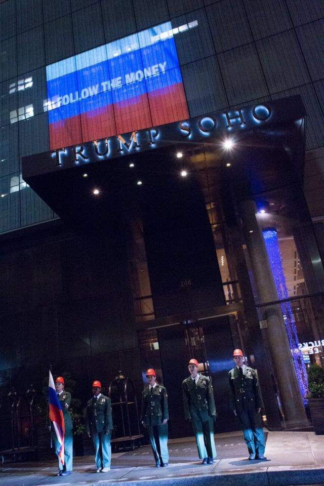 Проекция с Путиным на отеле Трампа в Нью-Йорке