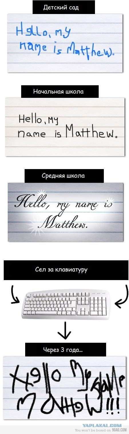 Как почерк изменился с дет. сада