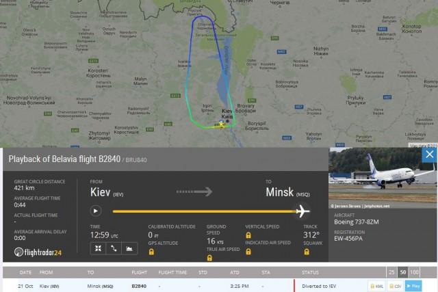 """Самолет """"Белавиа"""" заставили вернуться в Киев под угрозой поднять истребители!"""
