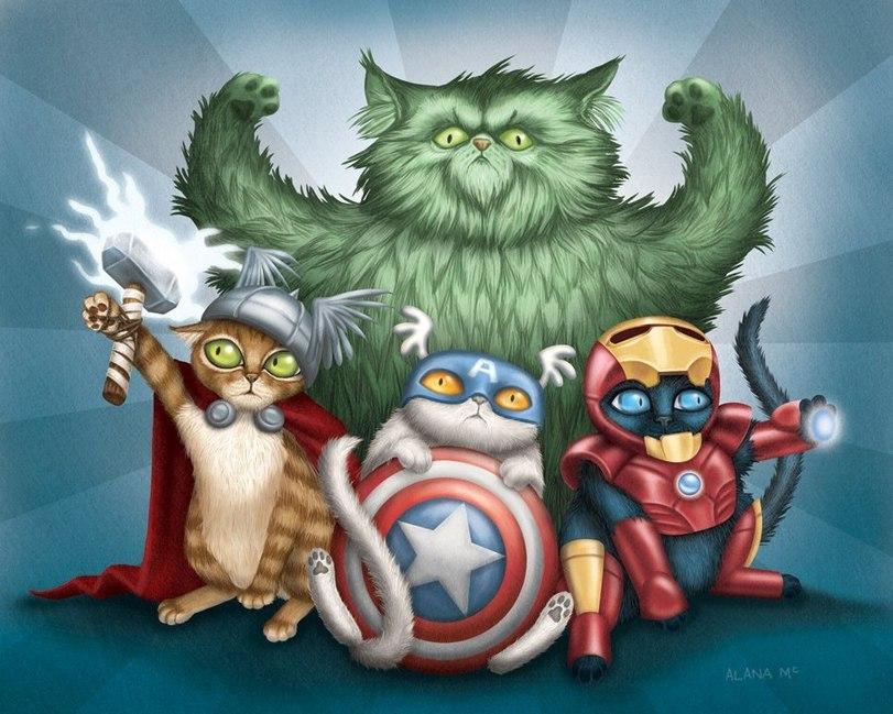 Коты супергерои 6 картинок