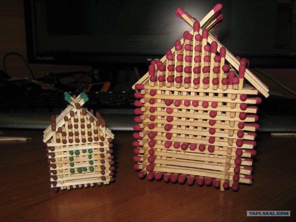 Делаем домик из спичек.