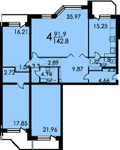 планировка 4-х комнатной квартиры в 16 этажном доме