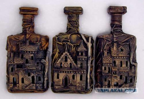 Бутылки в коже своими руками