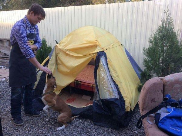 Астраханец-сирота живет в палатке у магазина