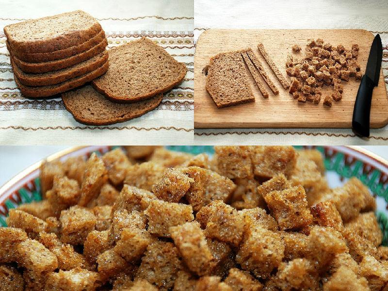 как сделать сухарики в духовке из хлеба в домашних