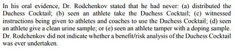 Родченков заявил, что никогда не давал россиянам допинговый коктейль и не видел, чтобы они его употребляли