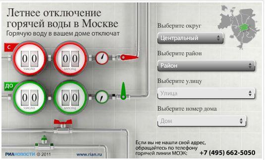 Отключение горячей воды в 2017 году в Москве по адресу
