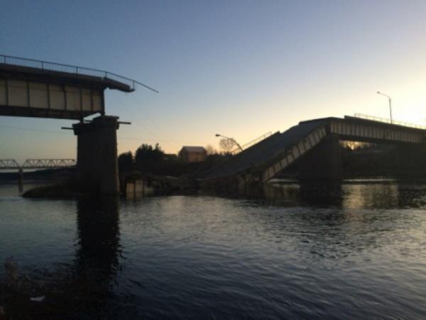 Обрушился мост в Архангельской области