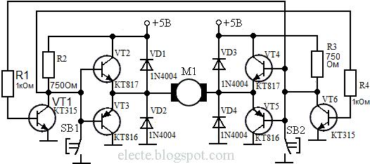 Реверс двигателя постоянного тока на транзисторах схема