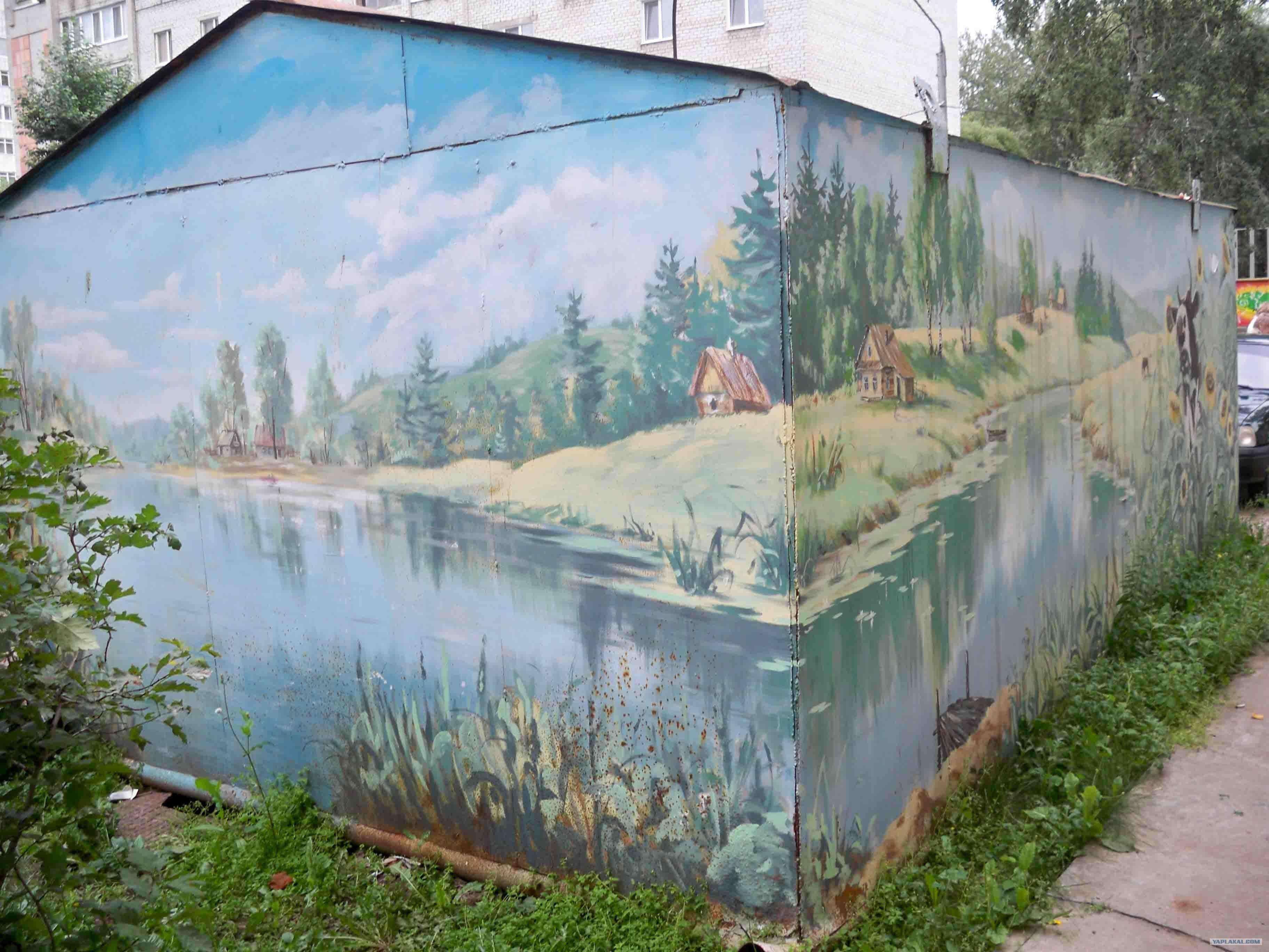 Как разукрасить стену гаража своими руками фото