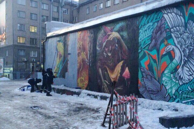 В Новосибирске закрасили граффити с героями русских сказок из мести