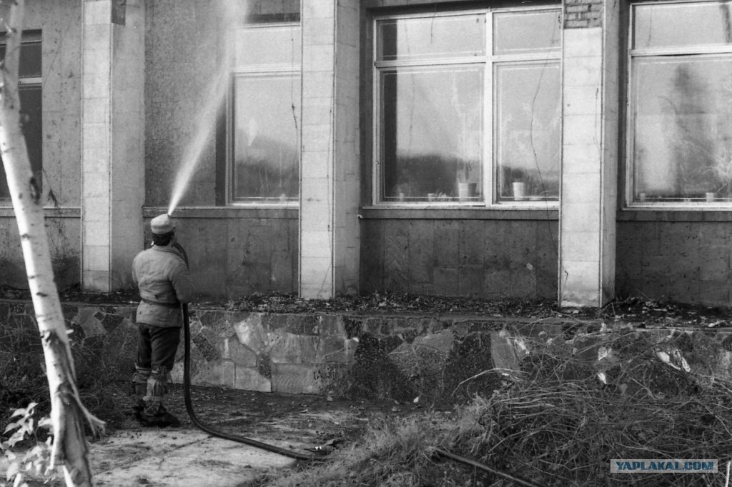"Liquidators wash the radioactive dust off the streets using a product called ""bourda"", meaning molasses."