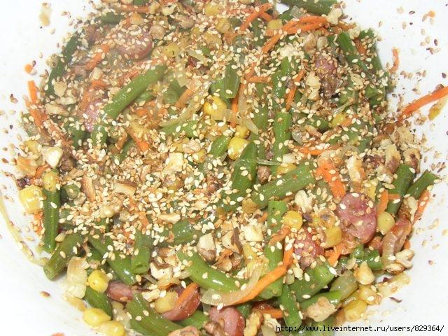 Рецепт салата из стручковой фасоли замороженной