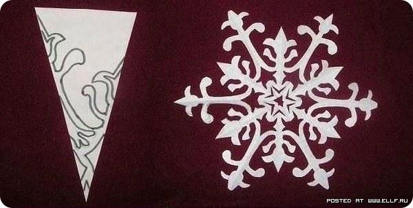 вырезать красивую снежинку