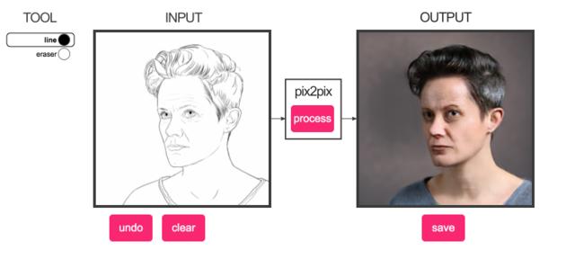 Нейросеть пытается превратить наброски в портреты, но получаются монстры