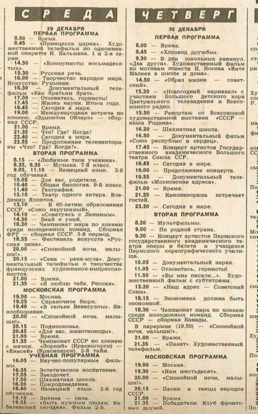 Что показывали в новый год в СССР середины восмидесятых