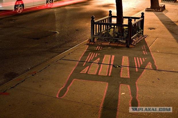 Граффити останавливает тень