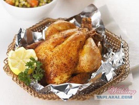 Цыплёнок в фольге в духовке с фото