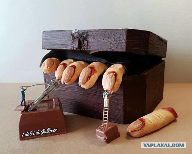 Сладкая жизнь: итальянский кондитер создаёт «микромиры» из крошечных фигурок и реальных десертов