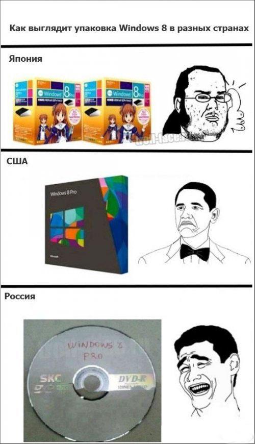 Как выглядит упаковка Windows 8 в разных странах