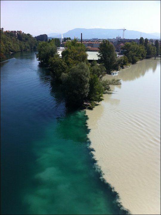 Слияние рек Рона и Арва в Женеве