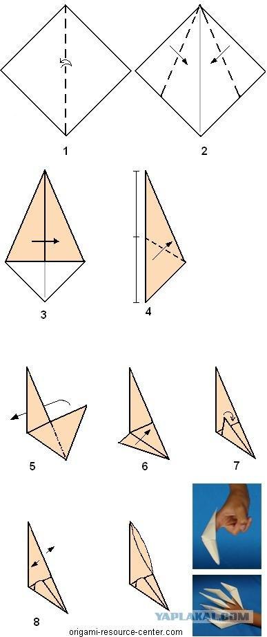 Как сделать оригами коготь из бумаги
