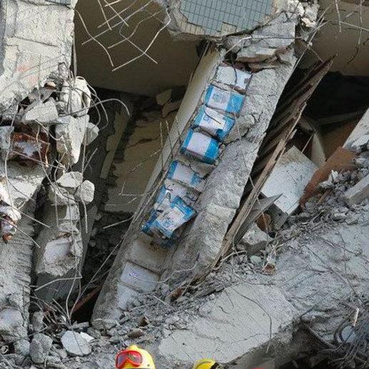 Дом, рухнувший во время землетрясения на Тайване, был построен из банок масла