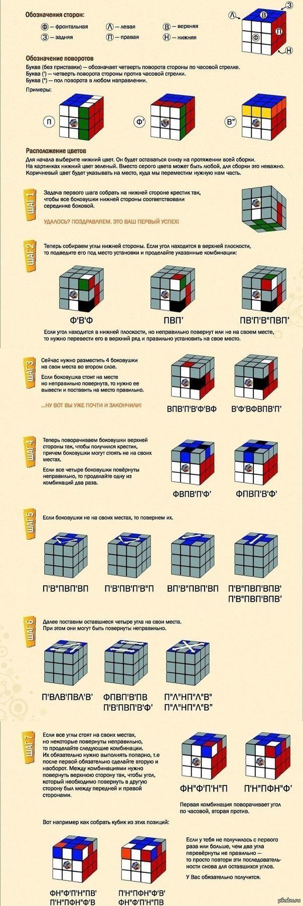схема сборки кубик рубика второго уровня