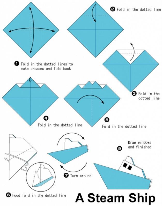 Корабль из бумаги своими руками схемы для начинающих
