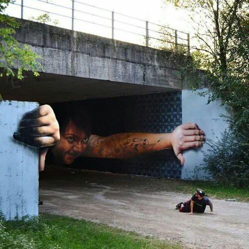 Потрясающие 3D-рисунки уличного художника, который умеет изменять пространство
