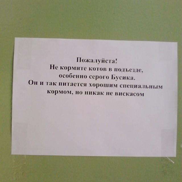 Объявления из подъездов многоквартирных домов