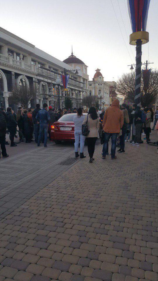 В Симферополе поехавшая девица, двигаясь по пешеходной улице, раздавила  котика уличного музыкантка, спавшего у него в чехле.