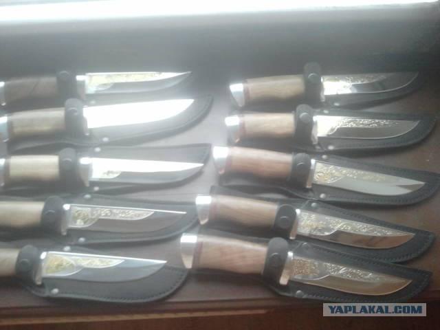 Продам ножи Златоустовские-гравировка золото 999,9