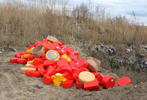 Бульдозер уничтожил полторы тонны голландского сыра в Красноярске